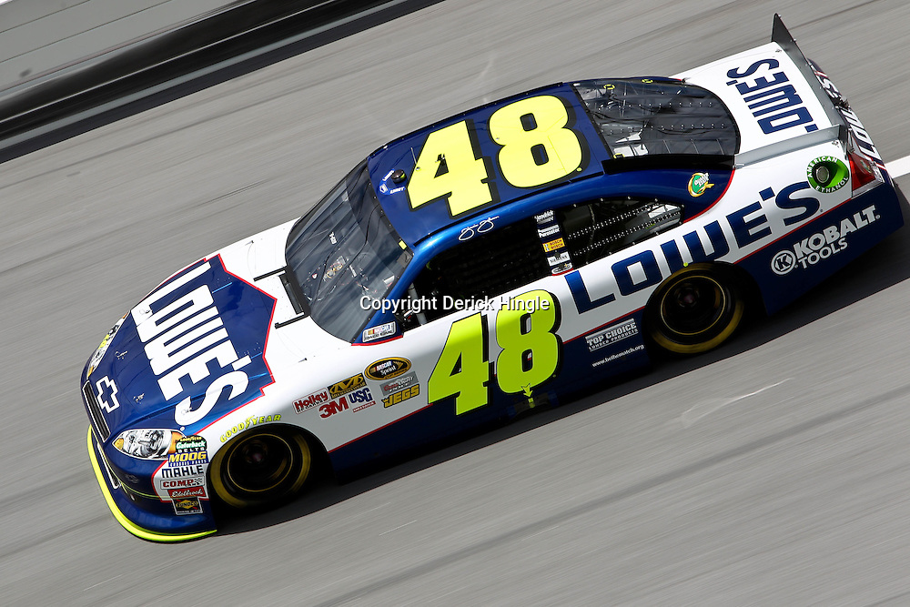 April 16, 2011; Talladega, AL, USA; NASCAR Sprint Cup Series driver Jimmie Johnson (48) during qualifying for the Aarons 499 at Talladega Superspeedway.   Mandatory Credit: Derick E. Hingle