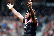 Toulouse captain Thierry Dusautoir reacts during the Heineken Cup match between Stade Toulouse and Leicester Tigers at Stade Municipal on October 14, 2012 in Toulouse, France.  Eoin Mundow/Cleva Media