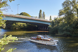 © Licensed to London News Pictures. 02/08/2015. BRAY, UK. General view of the M4 bridge over the River Thames  where a large boat (not pictured)exploded injuring seven people including at least one child. Photo credit : Cliff Hide/LNP