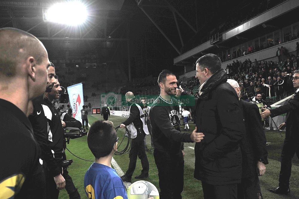 November 24, 2017 - Saint Etienne - Stade Geoffroy, France - Julien Sable (entraineur saint etienne) et Thierry Lauret  (Credit Image: © Panoramic via ZUMA Press)