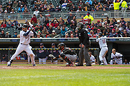 Joe Mauer #7 of the Minnesota Twins bats during against the Miami Marlins as Josh Willingham #16 and Justin Morneau #33 wait on-deck in Game 1 of a split doubleheader on April 23, 2013 at Target Field in Minneapolis, Minnesota.  The Twins defeated the Marlins 4 to 3.  Photo: Ben Krause