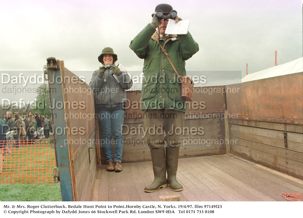 Mr. & Mrs. Roger Clutterbuck. Bedale Hunt Point to Point.Hornby Castle, N. Yorks. 19/4/97. film 97149f23<br />