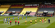 A minutes silence for those that have lost their lives with the Covid19 virus during the Premier League match at Vicarage Road, Watford. Picture date: 20th June 2020. Picture credit should read: Darren Staples/Sportimage