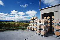 Wine stored in barrels at wineyard Yarra Valley Victoria Australia.