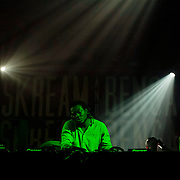March 28, 2012 - New York, NY : British dubstep music producers (DJ's) Skream (not pictured) & Benga (pictured here) perform at the Best Buy Theater in Manhattan on Wednesday evening. CREDIT: Karsten Moran for The New York Times
