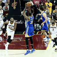 07 June 2017: Golden State Warriors forward Kevin Durant (35) takes a jump shot over Cleveland Cavaliers center Tristan Thompson (13) during the Golden State Warriors 118-113 victory over the Cleveland Cavaliers, in game 3 of the 2017 NBA Finals, at  the Quicken Loans Arena, Cleveland, Ohio, USA.