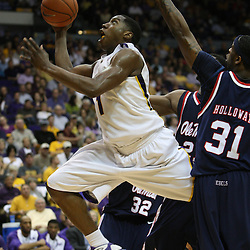 14 February 2009 LSU forward Tasmin Mitchell (1) drives to the basket during 73-66 win by the LSU Tigers against SEC rival the Ole Miss Rebels at the Pete Maravich Assembly Center in Baton Rouge, LA.