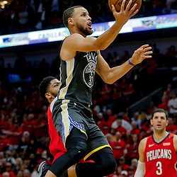 May 6, 2018; New Orleans, LA, USA; Golden State Warriors guard Stephen Curry (30) shoots over New Orleans Pelicans forward Anthony Davis (23) during the second quarter in game four of the second round of the 2018 NBA Playoffs at the Smoothie King Center. Mandatory Credit: Derick E. Hingle-USA TODAY Sports