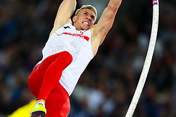London, August 08 2017 . Piotr Lisek, Poland, in the men's pole-vault final on day five of the IAAF London 2017 world Championships at the London Stadium. © Paul Davey.