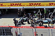 The Mercedes AMG Petronas pit before winning the Russian Formula One Grand Prix at Sochi Autodrom, Sochi, Russia.<br /> Picture by EXPA Pictures/Focus Images Ltd 07814482222<br /> 30/04/2017<br /> *** UK & IRELAND ONLY ***<br /> <br /> EXPA-EIB-170430-0304.jpg