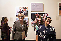 From left, Carol Larson, president and CEO of The David and Lucile Packard Foundation sharing a laugh with Sam Gomez and Miranda Mossey of the Epicenter at the December 5th, 2017 opening of the Stories from Salinas exhibition at the CSUMB Salinas Center for Arts and Culture in Oldtown. The exhibition celebrates the mentors, youth and families of the Salinas Youth Initiative.