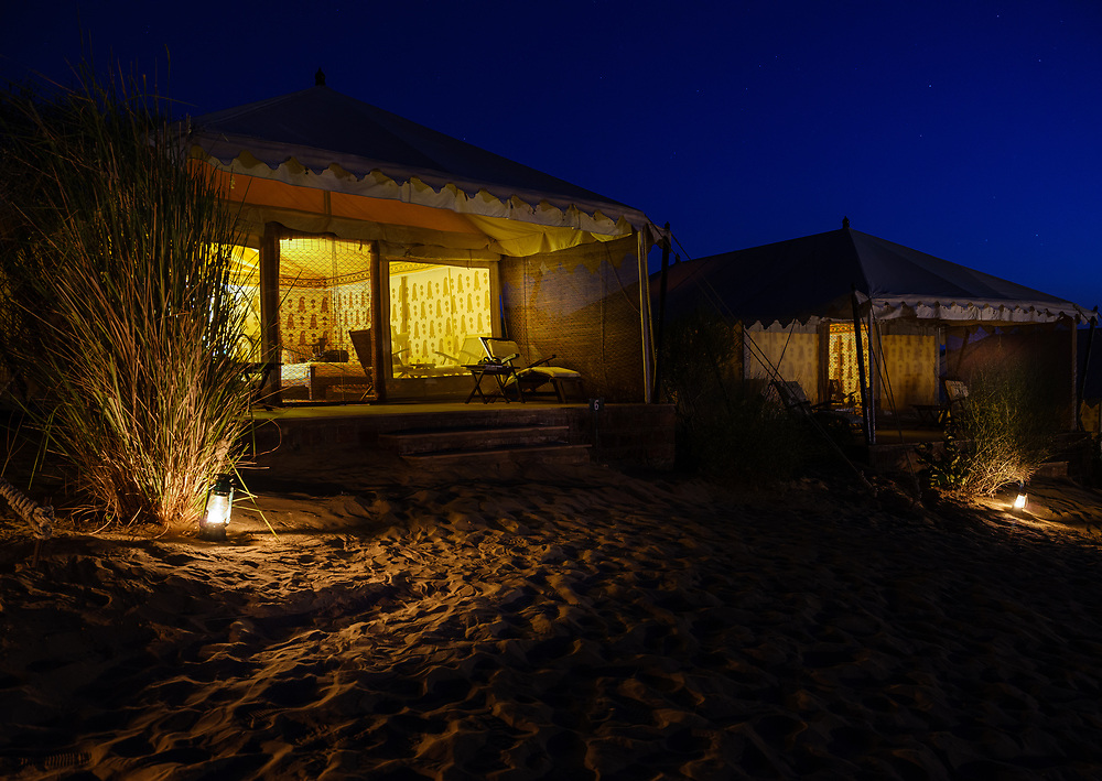 DECHU, INDIA - CIRCA NOVEMBER 2018: Tent at night in the Manvar desert camp of Dechu in Rajasthan.