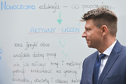 September 4, 2017 - Warsaw, Poland - Ryszard Petru, the Leader of 'Nowoczesna' (English: Modern) Political Pary, addresses the media during the press conference about the future of Polish education from 'Nowoczesna' point of view, organised in Warsaw on the starting day of 2017/2018 school year..On Monday, September 4, 2017, in Warsaw, Poland. (Credit Image: © Artur Widak/NurPhoto via ZUMA Press)