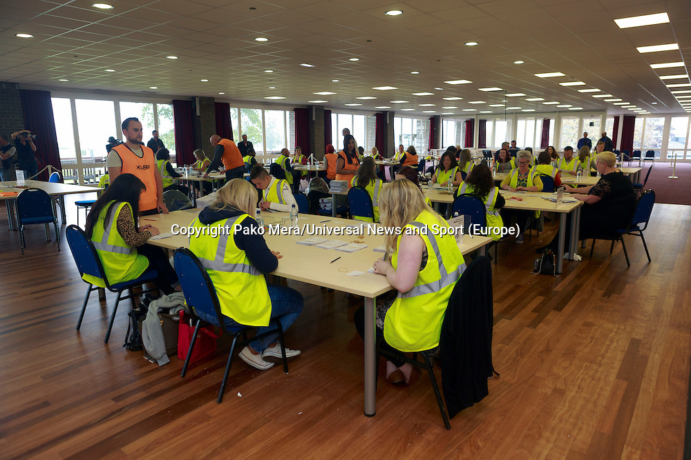 A general view of the room.<br /> Potocall as postal votes processed. Edinburgh council workers begin to verify the first votes submitted by post at Royal Highland Centre, Ingliston<br /> Pako Mera/Universal News And Sport (Europe) 12/09/2014