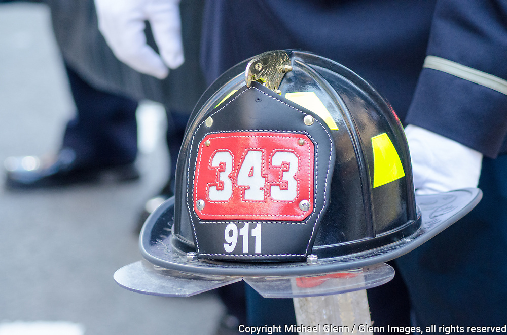 24 Sep 2017 Manhattan, New York United States of America // FDNY 343 helmet at the Stephen Siller Tunnel to Towers run at the World Trade Center site  Michael Glenn  /