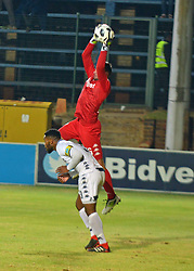The ABSA Premiership match that took place at the Bidvest Wits stadium on Saturday night between Bidvest  Wits F.C.  and Supersport United F.C. up to Half time. Wits goaly Darren Keet and no3 Robyn Johannes<br /> Picture: Timothy Bernard African News Agency/ANA