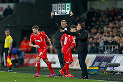 Steven Gerrard is brought on for Alberto Moreno of Liverpool - Photo mandatory by-line: Rogan Thomson/JMP - 07966 386802 - 16/03/2015 - SPORT - FOOTBALL - Swansea, Wales — Liberty Stadium - Swansea City v Liverpool - Barclays Premier League.