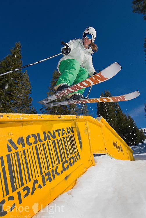 Rebecca Babicz slides a rail at Boreal Mountain resort.