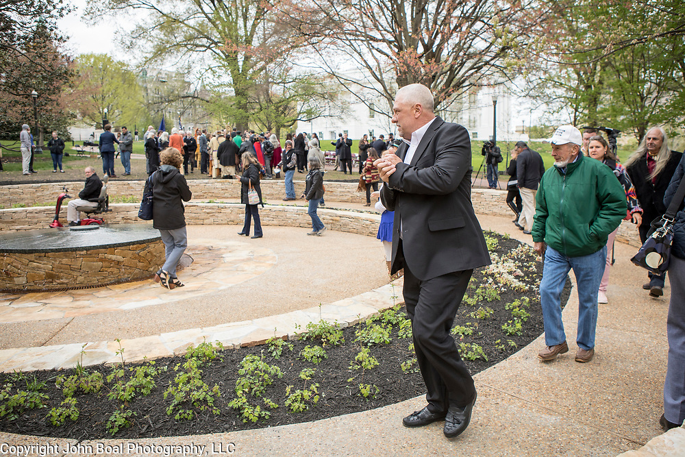 Monacan Chief, Dean Branham, surveys the new monument, Mantle: Virginia Indian Tribute, built on the Virginia State Capitol Square, in Richmond, Virginia, on Tuesday, April 17, 2018. John Boal Photography