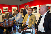 "Vienna. Opening of the Exhibition ""Jochen Rindt - Formula 1's first Pop Star"" at Galerie Westlicht. From l.: Niki Lauda, Westlicht owner Peter Coeln, Gerhard Berger, Jacky Ickx, Herbert Voelker"