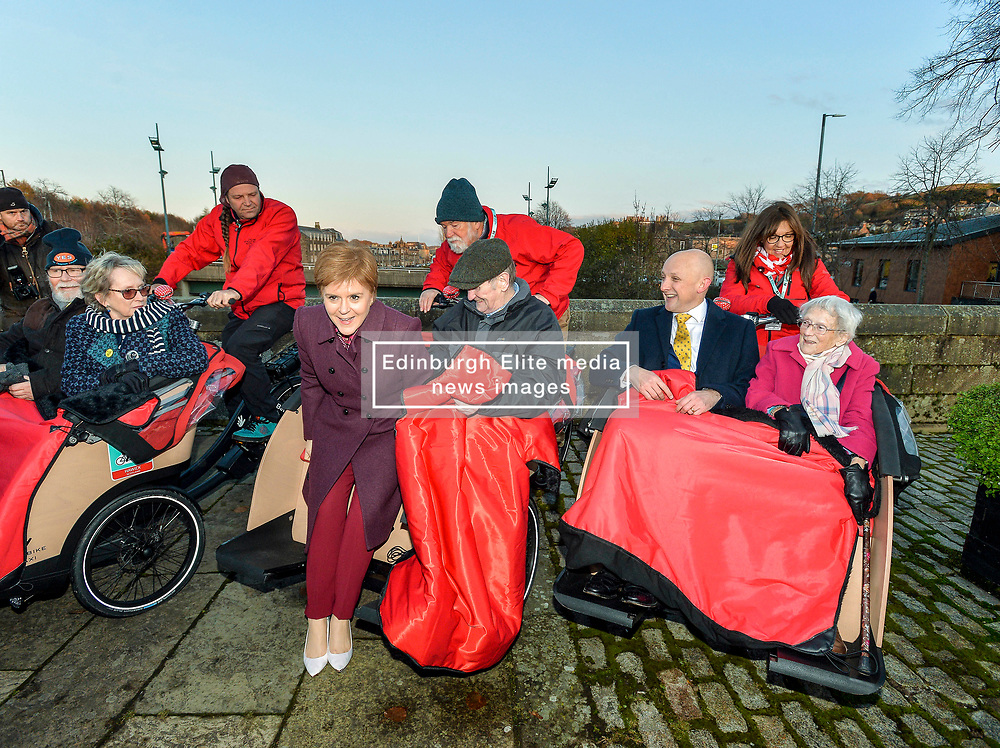 Pictured: Nicola Sturgeon joins Cycling Without Age user Cyril Corcoran from Galashiels while Calum Kerr, SNP candidate for Berwickshire, Roxburgh and Selkirk joins Elizabeth Wood from Hawick trying out the specially designed bicycle rickshaws.  <br /> <br /> SNP leader Nicola Sturgeon campaigns in Hawick in the Scottish Borders.<br /> <br /> © Dave Johnston / EEm