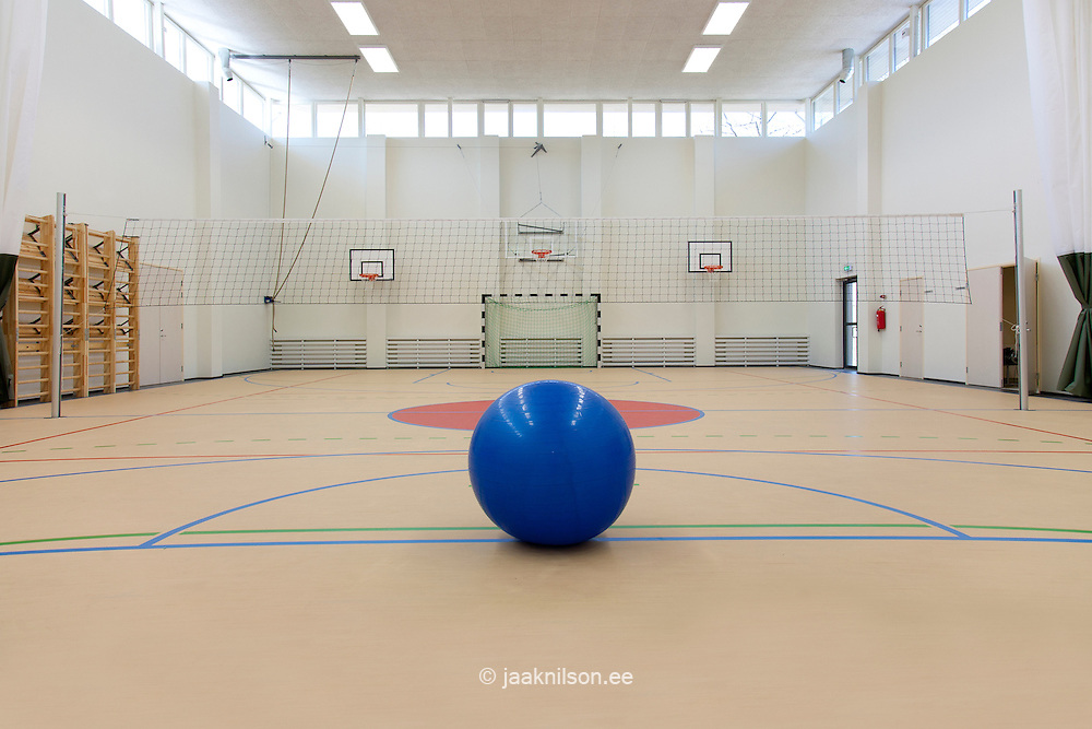 Sports and exercise facilities indoors. Gym. Basketball indoor court. Sports Hall. Games ball. Court markings in Village school in Metsapoole, Estonia