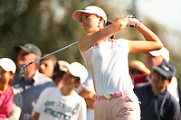 March 25, 2005; Rancho Mirage, CA, USA;  15 year old amateur Michelle Wie tees off during the 2nd round of the LPGA Kraft Nabisco golf tournament held at Mission Hills Country Club.  Wie shot a 2 over par 74 for the day and was tied for 14th at an even par 144.<br />Mandatory Credit: Photo by Darrell Miho <br />&copy; Copyright Darrell Miho