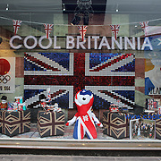 Shop windows in the centre of London decorated for the London 2012 Olympic games, UK. 14th July 2012. Photo Tim Clayton