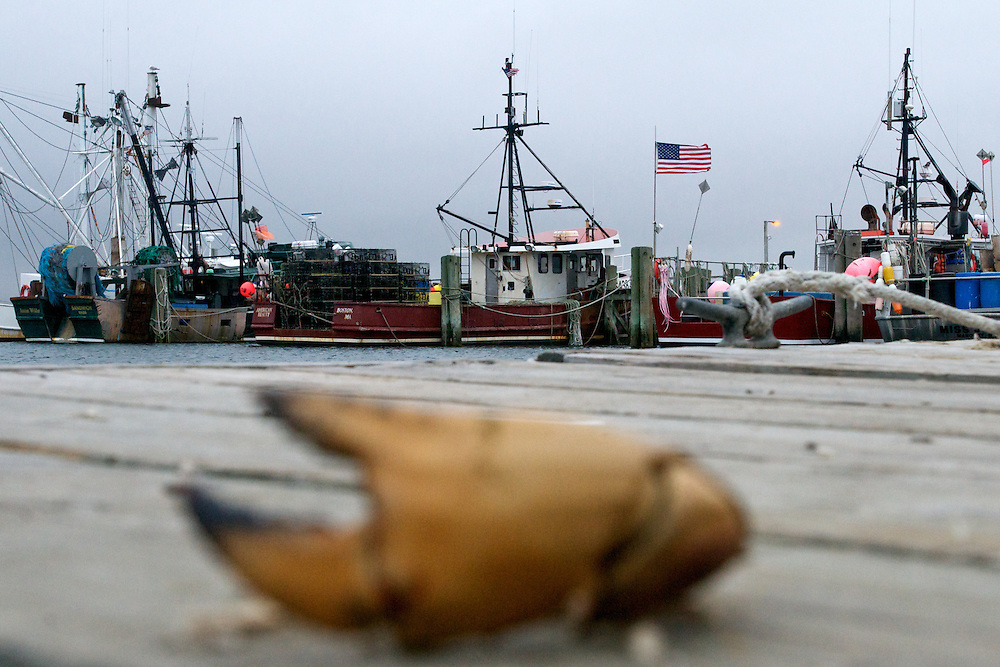 April 27, 2011 - Industrial lobster boats sit at the dock in Sandwich, MA.