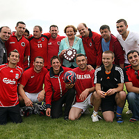 Mayor of Clare Madeline Taylor-Quinn presenting the plaque to the United Albanian team after they won the intercultural soccer tournament in Ennis on Saturday.<br /> Photograph by Yvonne Vaughan