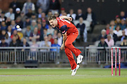 Lancashire Lightnings James Falkner   during the Vitality T20 Blast North Group match between Lancashire Lightning and Leicestershire Foxes at the Emirates, Old Trafford, Manchester, United Kingdom on 30 August 2019.