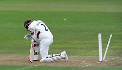 Dejection for Somerset's Marcus Trescothick after being dismissed for 85. - Photo mandatory by-line: Harry Trump/JMP - Mobile: 07966 386802 - 21/08/15 - SPORT - CRICKET - LV County Championship Division One - Day One - Somerset v Worcestershire - The County Ground, Taunton, England.