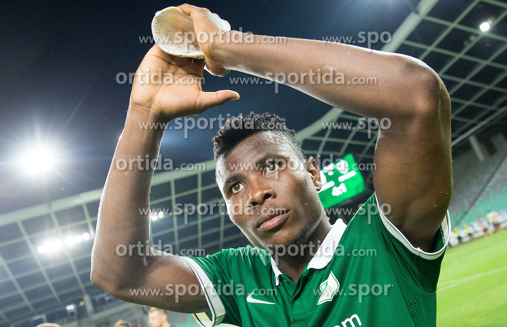 Henty Ezekiel Isoken #55 of Olimpija celebrates after winning during football match between NK Olimpija Ljubljana and ND Gorica in 1st Round of Prva liga Telekom Slovenije 2015/16, on July 18, 2015 in SRC Stozice, Ljubljana, Slovenia. Photo by Vid Ponikvar / Sportida