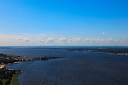 Nederland, Noord-Holland, Huizen, 30-06-2011; Huizerhoofd en Gooimeer, skyline Amsterdam..Gooimeer (lake), Amsterdam at the skyline on a windy day. luchtfoto (toeslag), aerial photo (additional fee required).copyright foto/photo Siebe Swart
