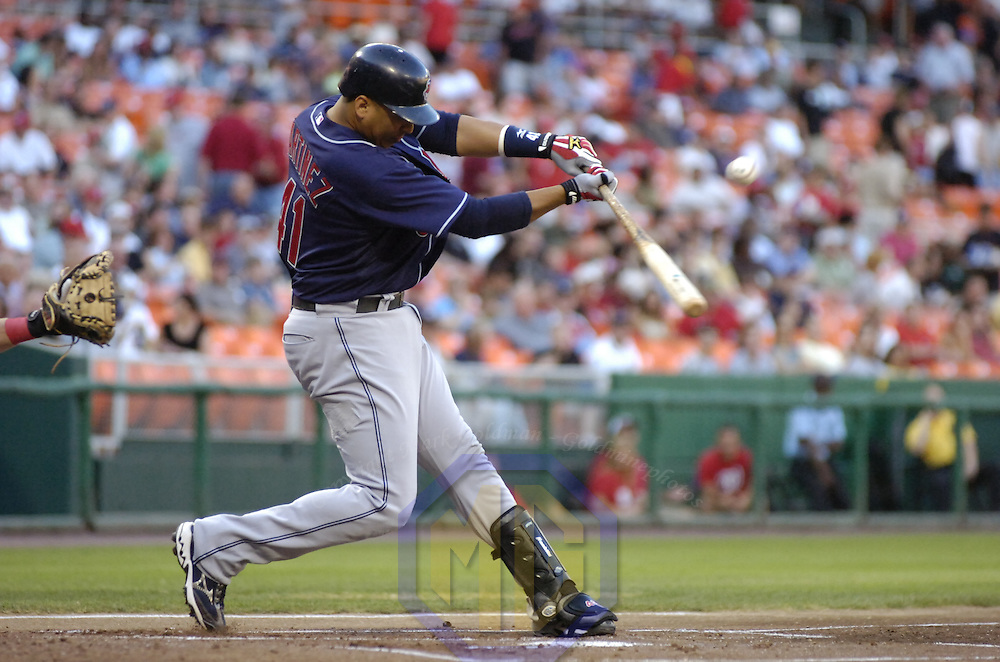 22 June 2007:  Cleveland Indians catcher Victor Martinez (41) in action against the Washington Nationals.  The Nationals defeated the Indians 4-1 in inter-league play at RFK Stadium in Washington, D.C.  ****For Editorial Use Only****