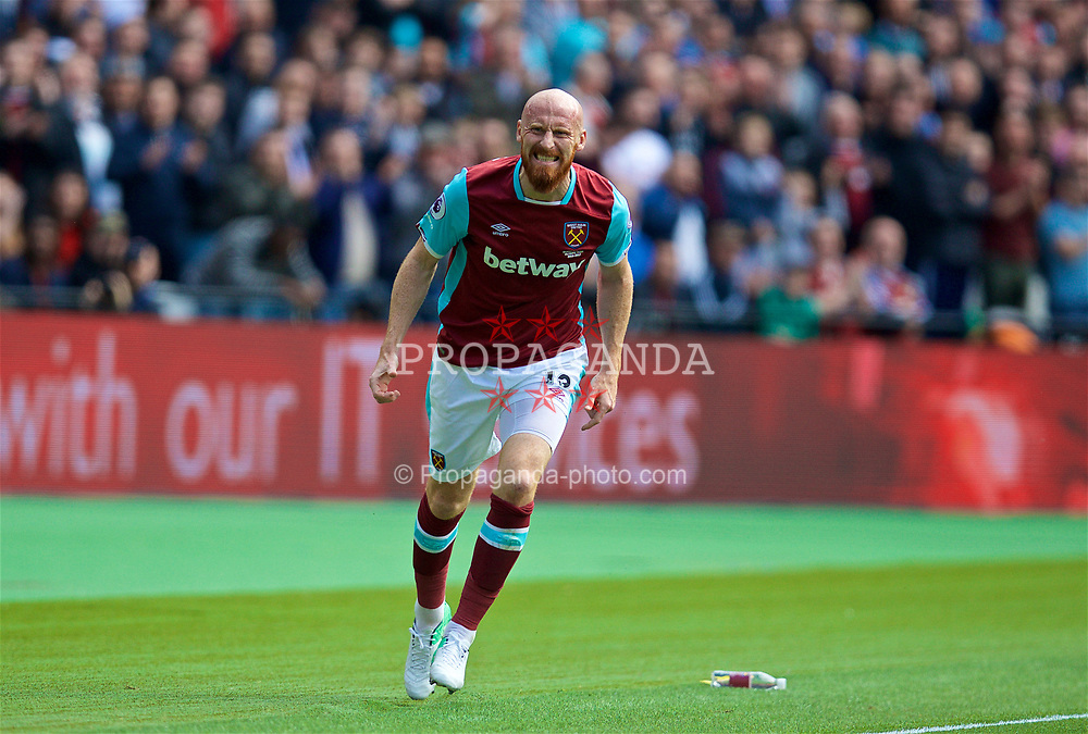 LONDON, ENGLAND - Saturday, April 22, 2017: West Ham United's James Collins in action against Everton during the FA Premier League match at the London Stadium. (Pic by David Rawcliffe/Propaganda)