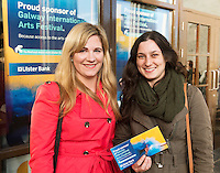 22/07/2015 repro free Aviah Mernagh and Tara O Connor from Galway City at the Ulster Bank sponsored evening at The Galway International Arts Festival's production of Frank McGuinnesses'  The Match Box, starring Cathy Belton At the Town Hall Theatre. Photo:Andrew Downes.