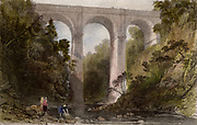 Road bridge across Mouse Water, at Cartland Crags (Cartlane Craigs), near Lanark, Scotland. Built by the Scottish civil engineer Thomas Telford (1757-1834), it was completed in 1822.  Engraving after the picture by Thomas Allom (1804-1872).