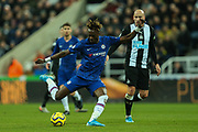 Tammy Abraham (#9) of Chelsea attempts a shot from outside the penalty area during the Premier League match between Newcastle United and Chelsea at St. James's Park, Newcastle, England on 18 January 2020.