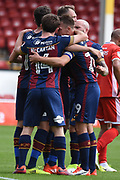Bradford City striker Shay McCartan (14) scores a goal 0-1 and celebrates during the EFL Sky Bet League 1 match between Walsall and Bradford City at the Banks's Stadium, Walsall, England on 26 August 2017. Photo by Alan Franklin.