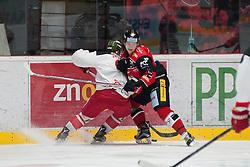 25.09.2016, Ice Rink, Znojmo, CZE, EBEL, HC Orli Znojmo vs HCB Suedtirol Alperia, 4. Runde, im Bild v.l. Marco Insam (HCB Sudtirol) Radek Cip (HC Orli Znojmo) // during the Erste Bank Icehockey League 4th Round match between HC Orli Znojmo and HCB Suedtirol Alperia at the Ice Rink in Znojmo, Czech Republic on 2016/09/25. EXPA Pictures © 2016, PhotoCredit: EXPA/ Rostislav Pfeffer