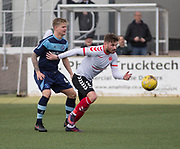 Clyde's David Goodwillie and Forfar's Michael Travis during Forfar's 3-0 win over Clyde in SPFL League Two  at Station Park, Forfar, Photo: David Young<br /> <br />  - &copy; David Young - www.davidyoungphoto.co.uk - email: davidyoungphoto@gmail.com