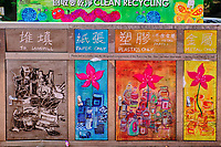 Chine, Hong Kong, Hong Kong Island, quartier branché de Soho, Hollywood road, poubelle, recyclage // China, Hong Kong, Hong Kong Island, Soho in Hollywood road, trash can, recycling