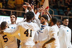 Feb 13, 2016; Morgantown, WV, USA; The West Virginia Mountaineers huddle before their game against the TCU Horned Frogs at the WVU Coliseum. Mandatory Credit: Ben Queen-USA TODAY Sports