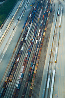 Aerial view of rail cars on tracks outside the once occupied General Motors Boxwood Plant in Newport Delaware..