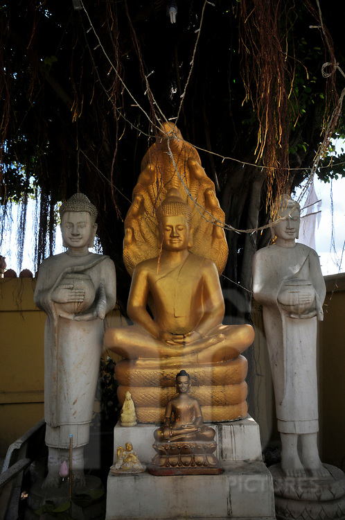 Statues in a buddhist temple of Phnom Penh, Cambodia, Southeast Asia