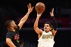 January 28, 2019 - Los Angeles, CA, U.S. - LOS ANGELES, CA - JANUARY 28: Atlanta Hawks Guard Trae Young (11) works out before a NBA game between the Atlanta Hawks and the Los Angeles Clippers on January 28, 2019 at STAPLES Center in Los Angeles, CA. (Photo by Brian Rothmuller/Icon Sportswire) (Credit Image: © Brian Rothmuller/Icon SMI via ZUMA Press)