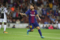 September 12, 2017 - Barcelona, Spain - Lionel Messi of FC Barcelona celebrates after scoring his side's third goalduring the UEFA Champions League, Group D football match between FC Barcelona and Juventus FC on September 12, 2017 at Camp Nou stadium in Barcelona, Spain. (Credit Image: © Manuel Blondeau via ZUMA Wire)