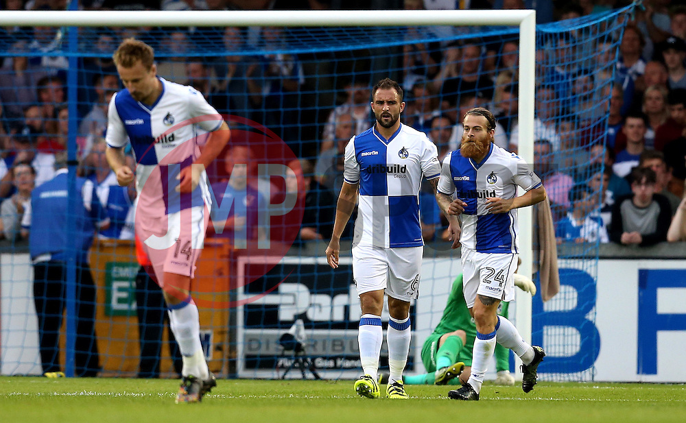 Bristol Rovers players look frustrated after conceding a goal to Josh Vela of Bolton Wanderers - Mandatory by-line: Robbie Stephenson/JMP - 17/08/2016 - FOOTBALL - Memorial Stadium - Bristol, England - Bristol Rovers v Bolton Wanderers - Sky Bet League One