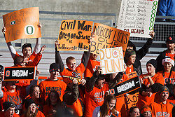 December 4, 2010; Corvallis, OR, USA;  Oregon State Beavers fans hold up signs in the stands before the game against the Oregon Ducks at Reser Stadium.